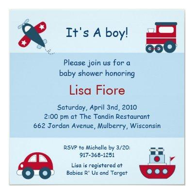 Airplane Train Car Boat Baby Shower Invitations