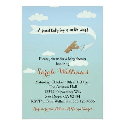 Airplane Transportation Baby Shower Invitaiton Invitation