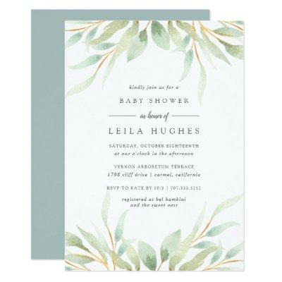 Airy Botanical Baby Shower Invitations