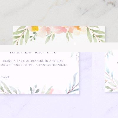Airy Floral Baby Shower Diaper Raffle Ticket Invitations