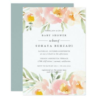 Airy Floral Baby Shower Invitations