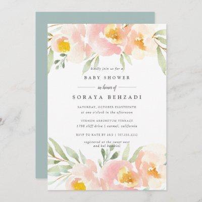 Airy Floral Baby Shower Invitation