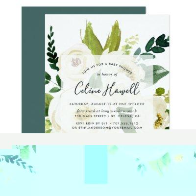 Alabaster Floral Baby Shower Invitations