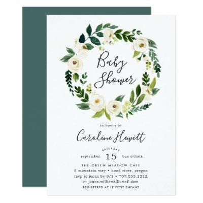 Alabaster Wreath Baby Shower Invitation