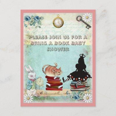 Alice & Cheshire Cat Bring a Book Baby Shower Invitation