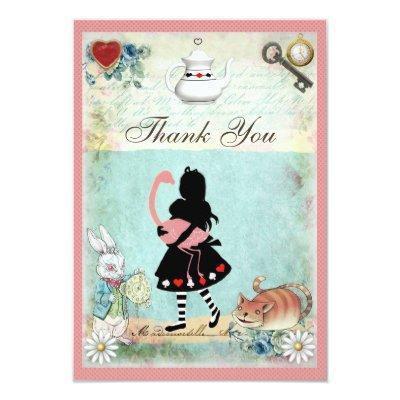 Alice, Flamingo & Cat Baby Shower Thank You Invitations