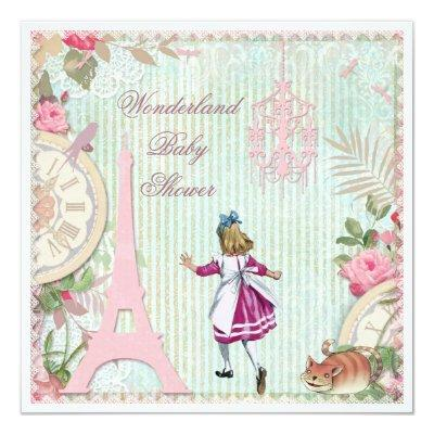 Alice in Paris Shabby Chic Wonderland Baby Shower Invitation