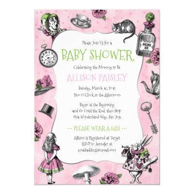 Alice in Wonderland Pink Baby Shower Invitation