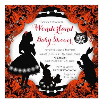 Alice in Wonderland Red and Black Baby Shower Invitation