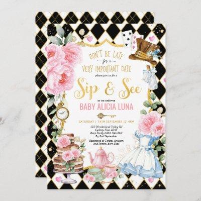 Alice in Wonderland Sip & See Tea Party Baby Girl Invitation