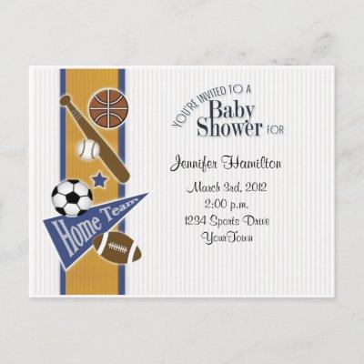All Sports Baby Postcard Invitations Gold & Blue