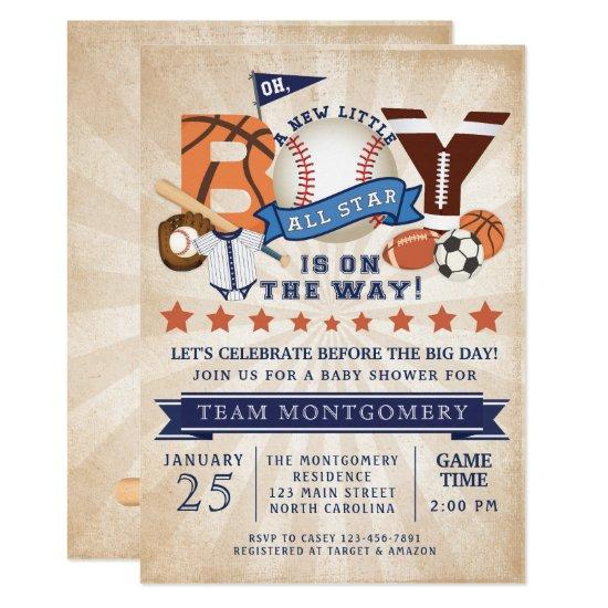 All Star Sports Boy Baby Shower Invitation