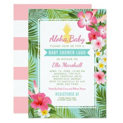 Aloha, Baby   Pink Tropical Flowers Shower Luau Invitation
