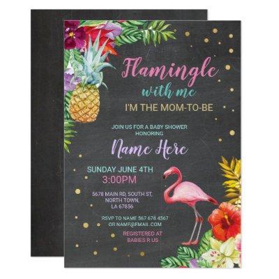 Aloha Baby Shower Flamingo Chalk Luau Gold Invite