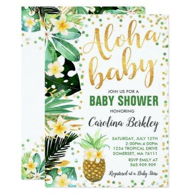Aloha Baby Shower Invitation Tropical Baby Shower