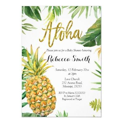 Aloha Pineapple Baby Shower Invitation