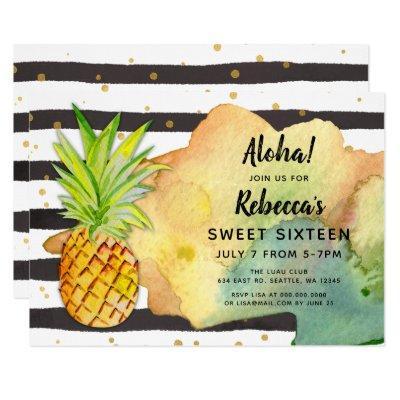 Aloha Pineapple Birthday party Invitations