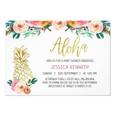 Aloha Pineapple Floral Baby Shower Invitation