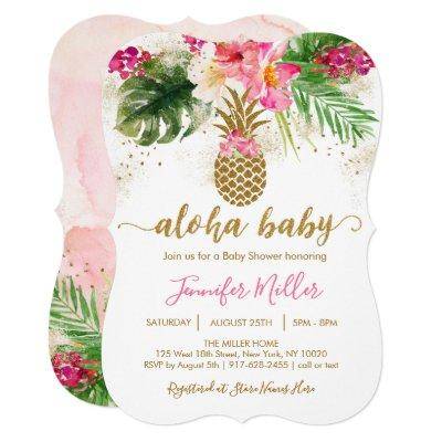 Aloha Pineapple Tropical Floral Baby Shower Invitation