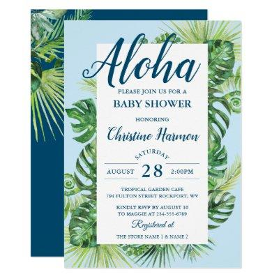 Aloha Tropical Greenery Blue Baby Shower Invitation