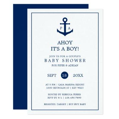 Anchor & Monogram | Boy Couple's Baby Shower Invitation