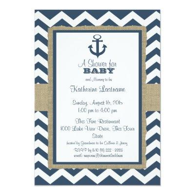 Anchor Navy Blue Zigzag Baby Shower Invitations
