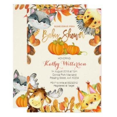 Animal Fall Pumpkin Invitations