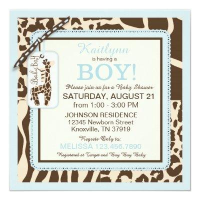 Animal Print Giraffe and Tie Jumper Baby Shower Invitation