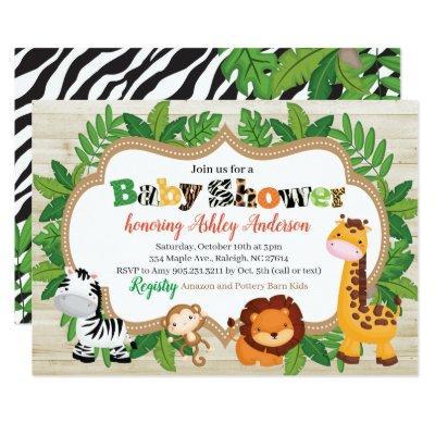 Animal Safari Jungle Baby Shower Invitation