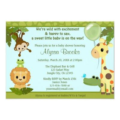 Animal SAFARI PARTY Invitations monkey