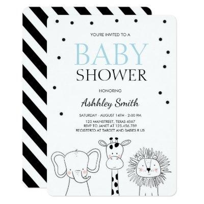 Animals Baby shower invite Zoo Safari Jungle Boy