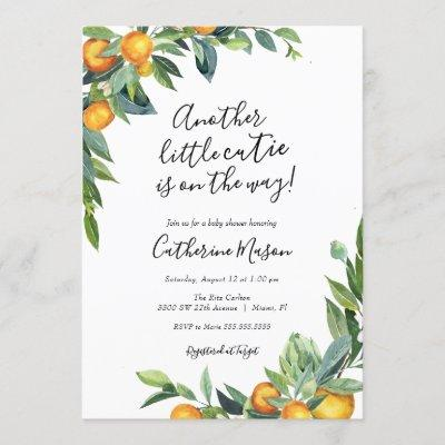 Another Little Cutie Orange Baby Shower Invitation