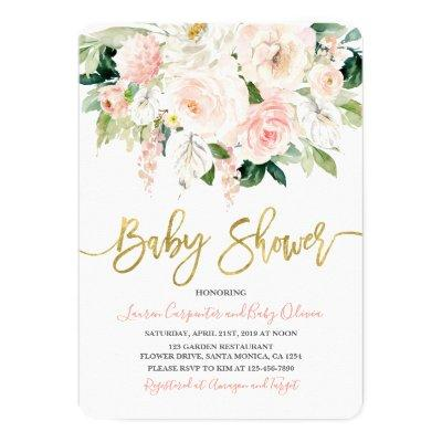 Anthurium floral Baby Shower invitation, baby girl Invitation