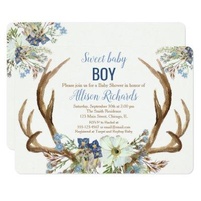 Antler boho rustic baby shower invitation boy