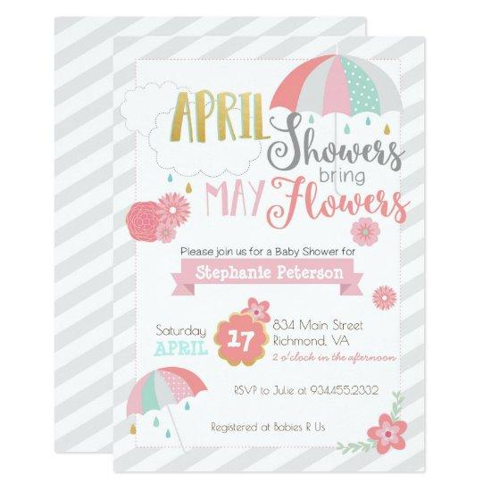 April Showers Baby Shower Invitations