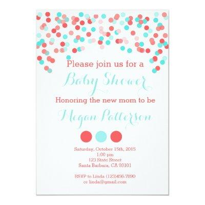 Aqua and Coral Sprinkle Baby Shower Invitation