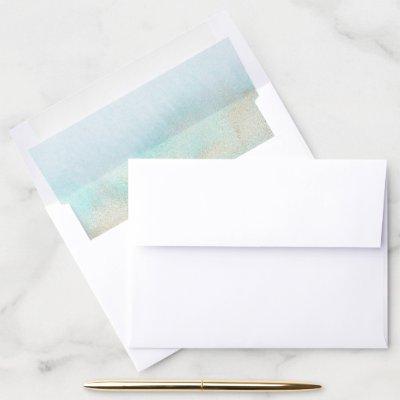 Aqua and Gold Watercolor Beach Wedding Envelope Liner