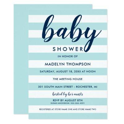 Aqua Blue Stripes | Navy Modern Baby Boy Shower Invitations