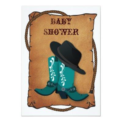 aqua cowboy boots western mommy baby shower Invitations