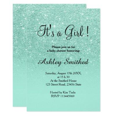 Aqua faux glitter pink ombre girl baby shower invitation