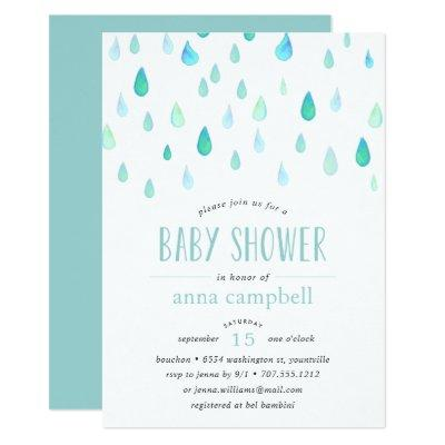 Aqua Raindrops | Baby Shower Invitation