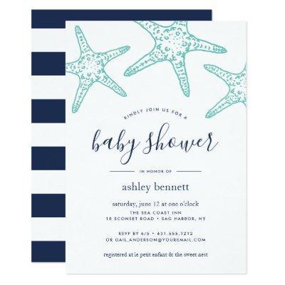 Aqua Starfish Baby Shower Invitation