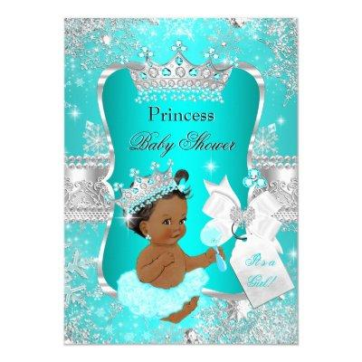 Aqua Teal Blue Princess Baby Shower Ethnic Invitations