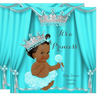 Aqua Teal Princess Baby Shower Silver Ethnic Invitations