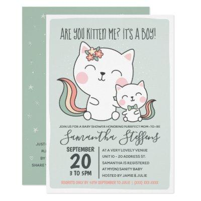 Are You Kitten Me Cute Green Cat Boy Baby Shower Invitation