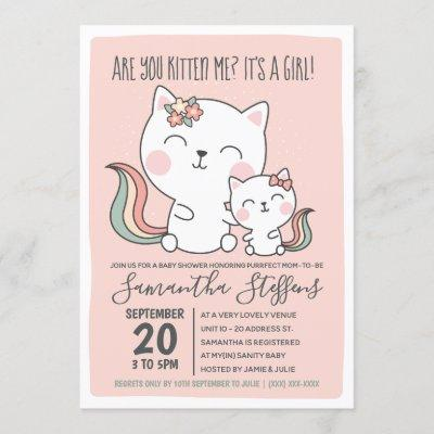 Are You Kitten Me Cute Pink Cat Girl Baby Shower Invitation