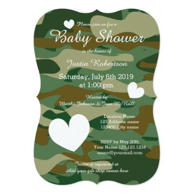 Army camo baby shower invitations with cute hearts