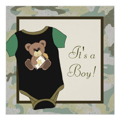 Army Green Camouflage Baby Boy Shower Invitations