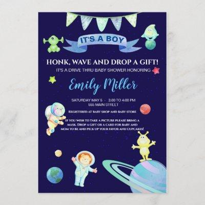 Astronaut space drive by baby shower invitation