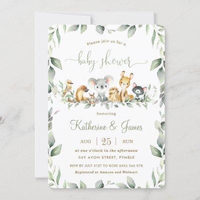 Australian Animals Greenery Baby Shower Neutral Invitation
